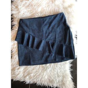 Navy suede skirt